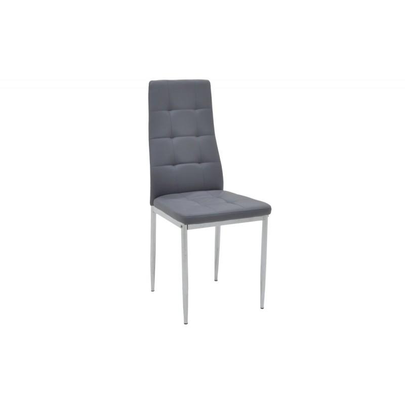 """Καρέκλα """"CUBE"""" μεταλλική από τεχνόδερμα σε χρώμα γκρι 41x46x97"""