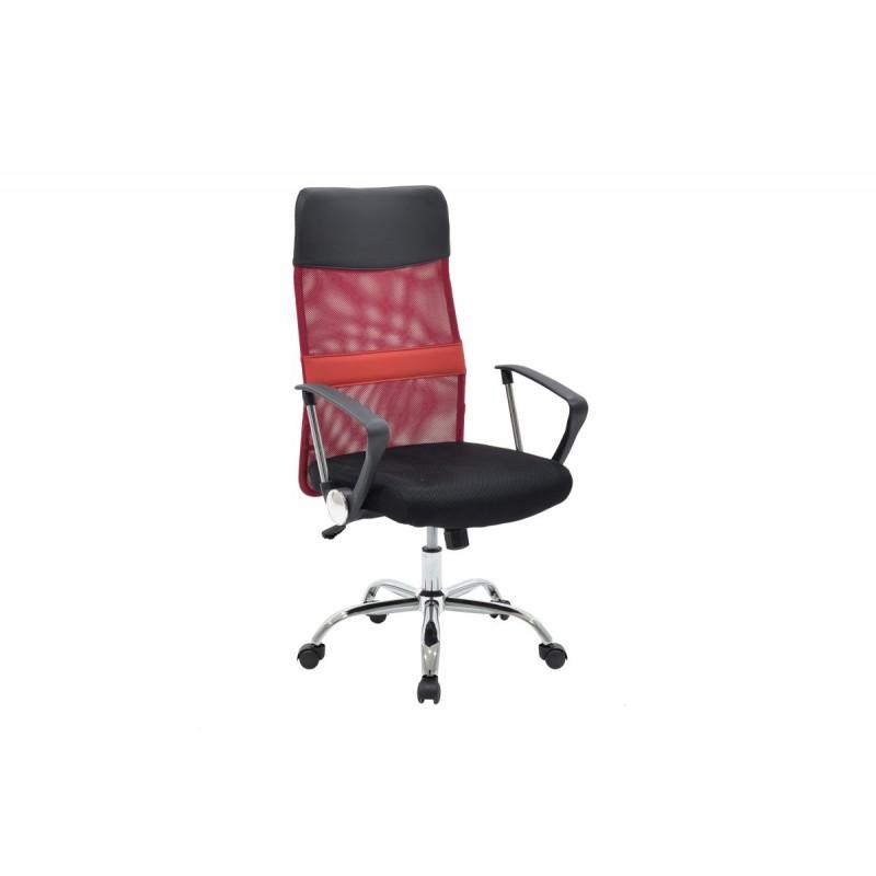 """Πολυθρόνα διευθυντή """"JOEL"""" από ύφασμα mesh σε χρώμα μαύρο-κόκκινο 60x48x114"""