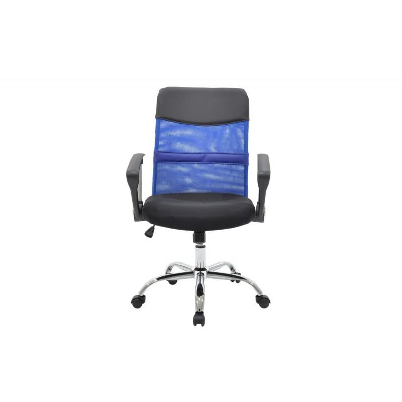 """Πόλυθρόνα εργασίας 'RINA"""" με ύφασμα mesh σε χρώμα μαύρο-μπλε 62x48x96/106"""
