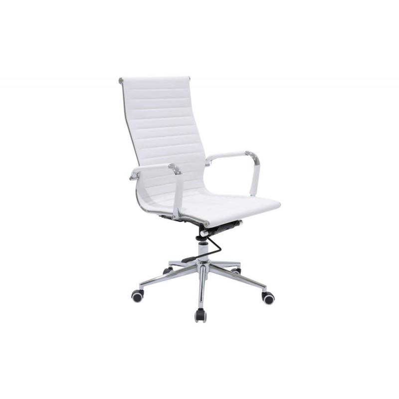 """Πολυθρόνα διευθυντή """"DORO"""" από τεχνόδερμα σε χρώμα λευκό 57x56x114"""