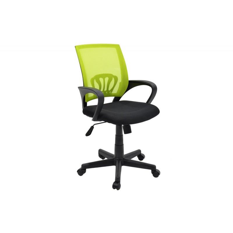 """Πολυθρόνα εργασίας """"BERTO"""" με ύφασμα mesh σε χρώμα μαύρο-πράσινο 56x54x90/100"""