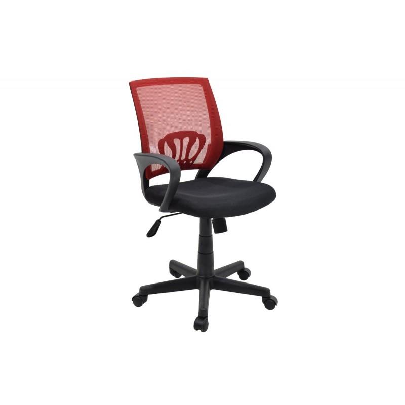 """Πολυθρόνα εργασίας """"BERTO"""" με ύφασμα mesh σε χρώμα μαύρο-κόκκινο 56x54x90/100"""