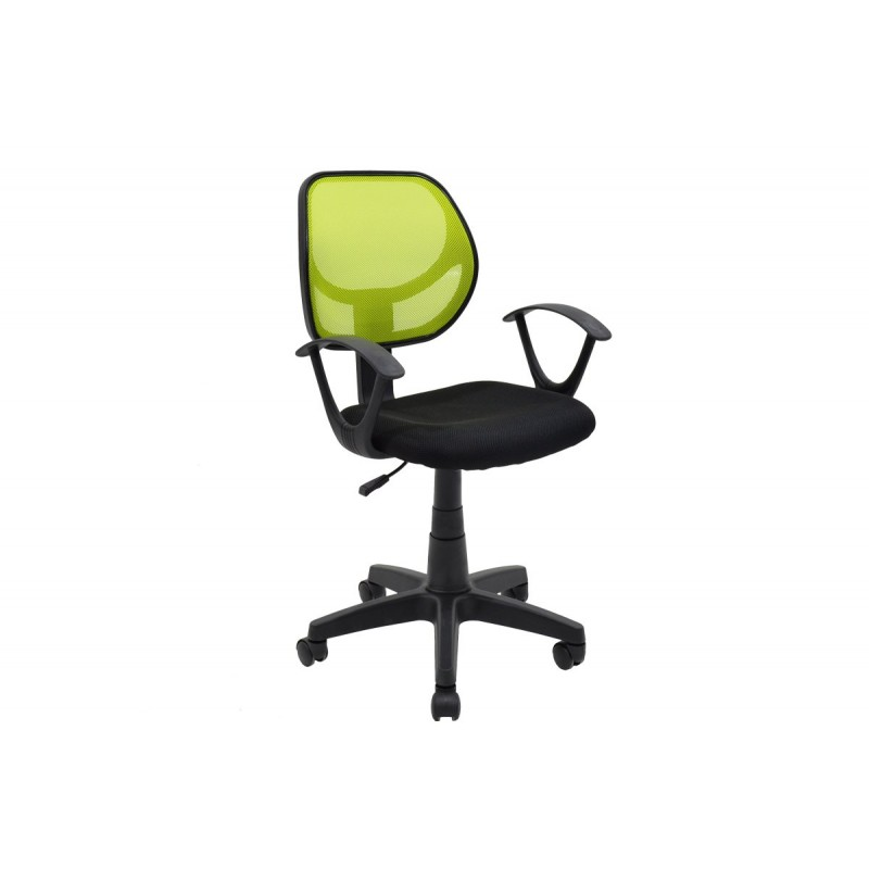 """Πολυθρόνα εργασίας """"SARA"""" με ύφασμα mesh σε χρώμα μαύρο-πράσινο 56x51x88/100"""