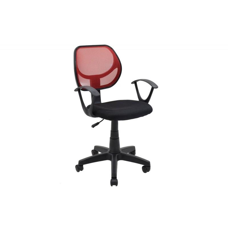 """Πολυθρόνα εργασίας """"SARA"""" με ύφασμα mesh σε χρώμα μαύρο-κόκκινο 56x51x88/100"""