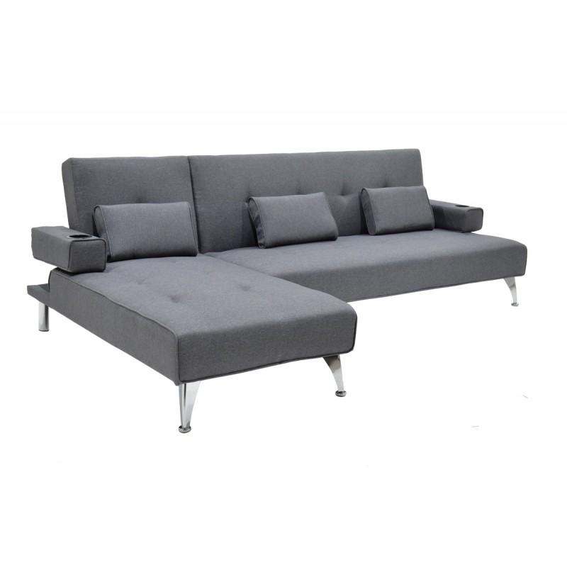 """Γωνιακός καναπές-κρεβάτι """"LUXURY"""" υφασμάτινος σε γκρι χρώμα 258x156x84"""