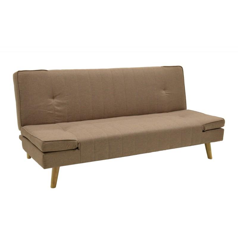 """Καναπές-κρεβάτι """"LITO"""" τριθέσιος από ύφασμα σε χρώμα ανοικτό καφέ 183x87x84"""