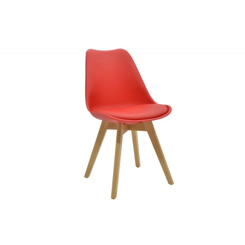 """Καρέκλα """"GASTON"""" πολυπροπυλενίου-pu σε χρώμα κόκκινο 48x56x84"""