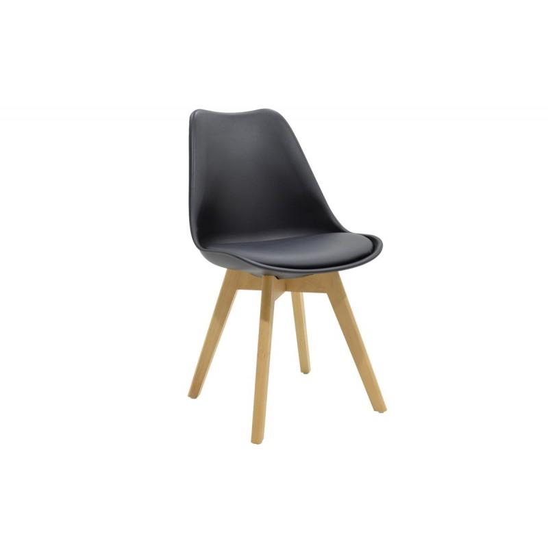 """Καρέκλα """"GASTON"""" πολυπροπυλενίου με pu σε χρώμα μαύρο 48x56x84"""