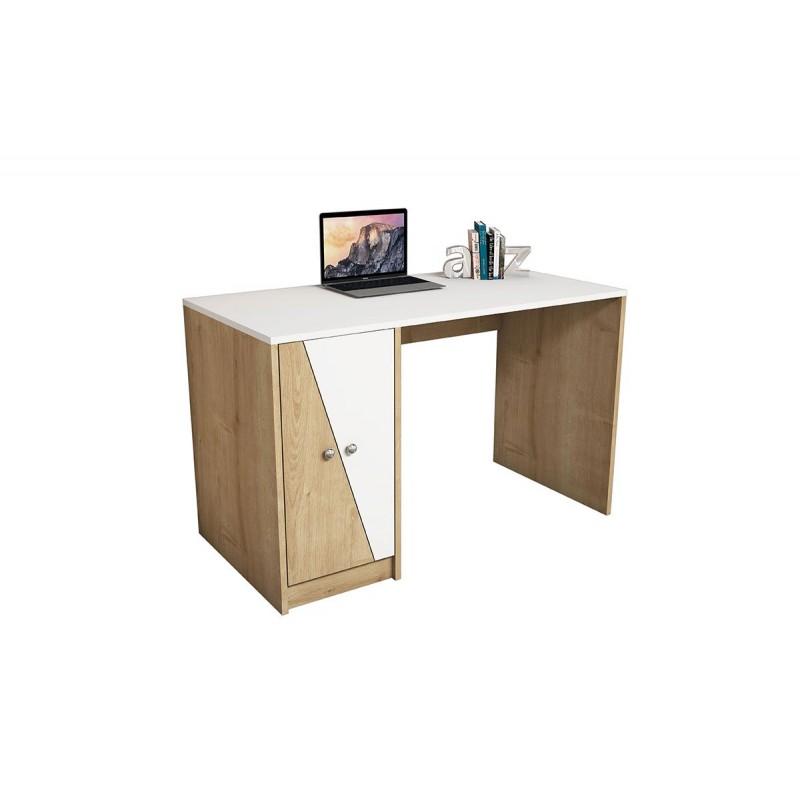 """Γραφείο εργασίας """"GOLD"""" χρώματος λευκό-φυσικό 120x60x75"""