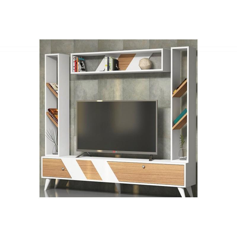 """Σύνθεση σαλονιού """"RILE TV"""" σε χρώμα λευκό-σονόμα 180x30x160"""