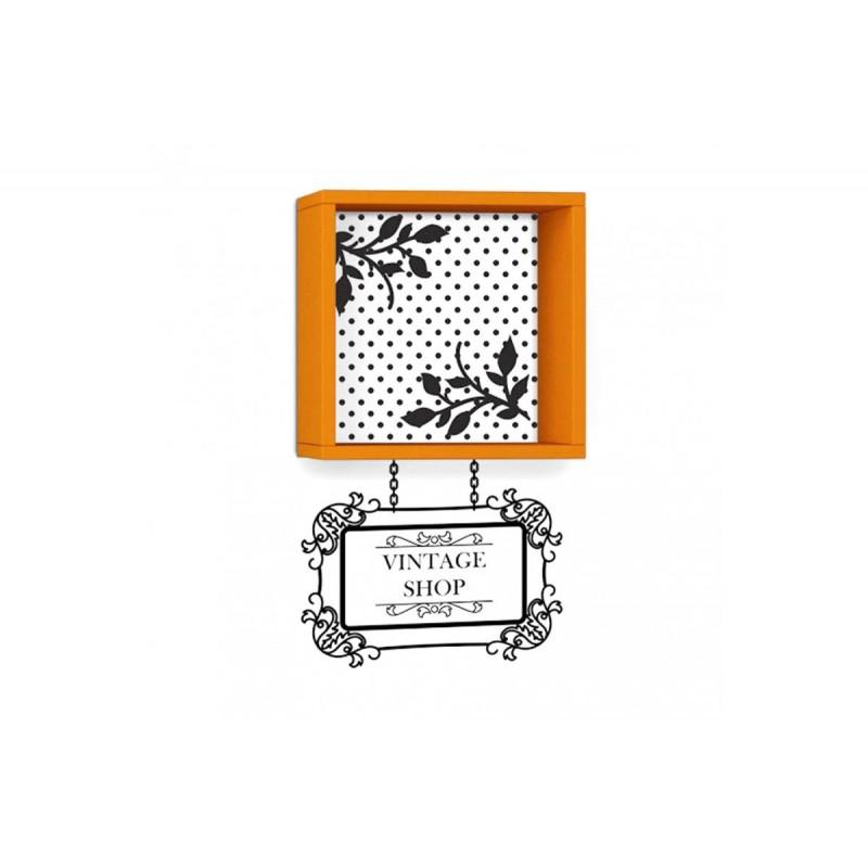 """Ράφι τοίχου """"VINTAGE"""" σε χρώμα πορτοκαλί με αυτοκόλλητο τοίχου 34x20x34"""
