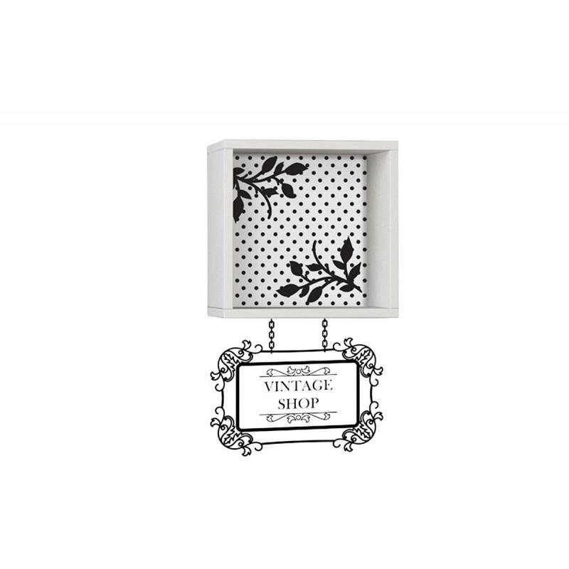 """Ράφι τοίχου """"VINTAGE"""" σε χρώμα λευκό με αυτοκόλλητο τοίχου 34x20x34"""