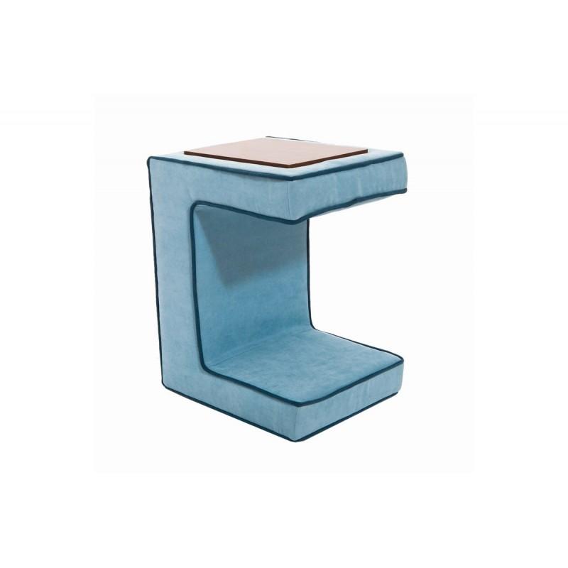 """Βοηθητικό τραπεζάκι-σκαμπώ """"BEA"""" υφασμάτινο χρώμα μπλε 55x32x40"""