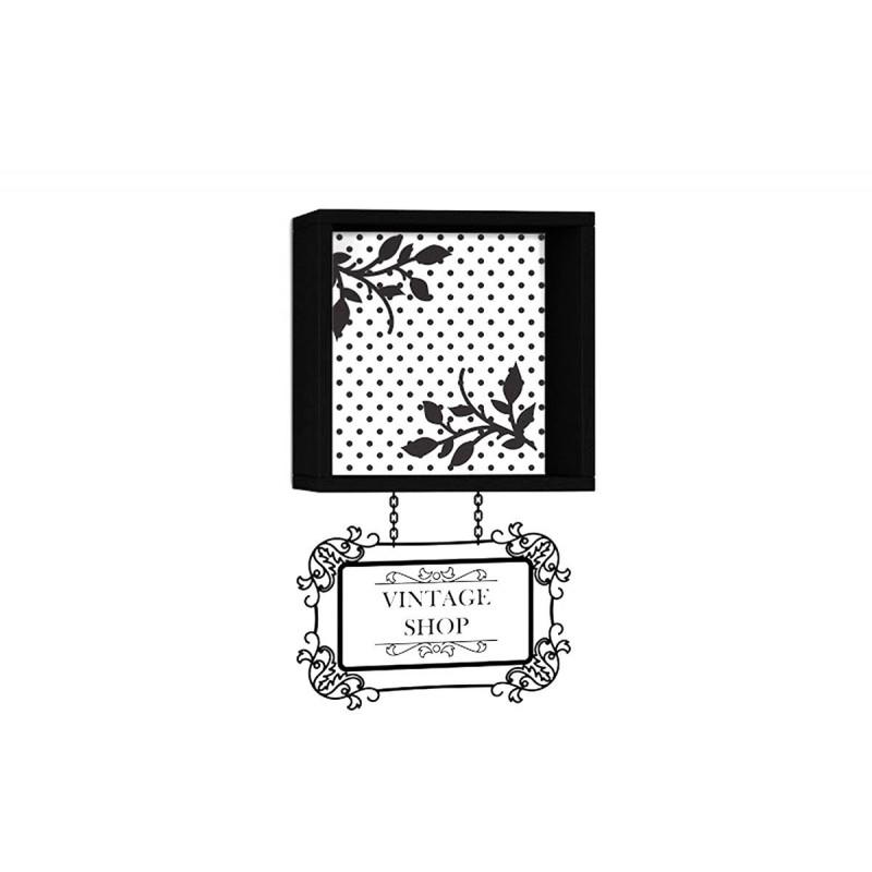 """Ράφι τοίχου """"VINTAGE"""" σε χρώμα μαύρο με αυτοκόλλητο τοίχου 34x20x34"""