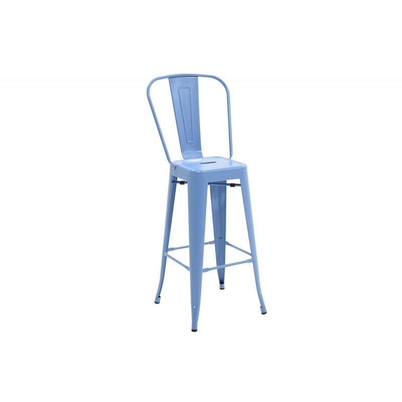 """Σκαμπώ μπαρ """"UTOPIA"""" με πλάτη μεταλλικό σε χρώμα μπλε 50x44x118"""