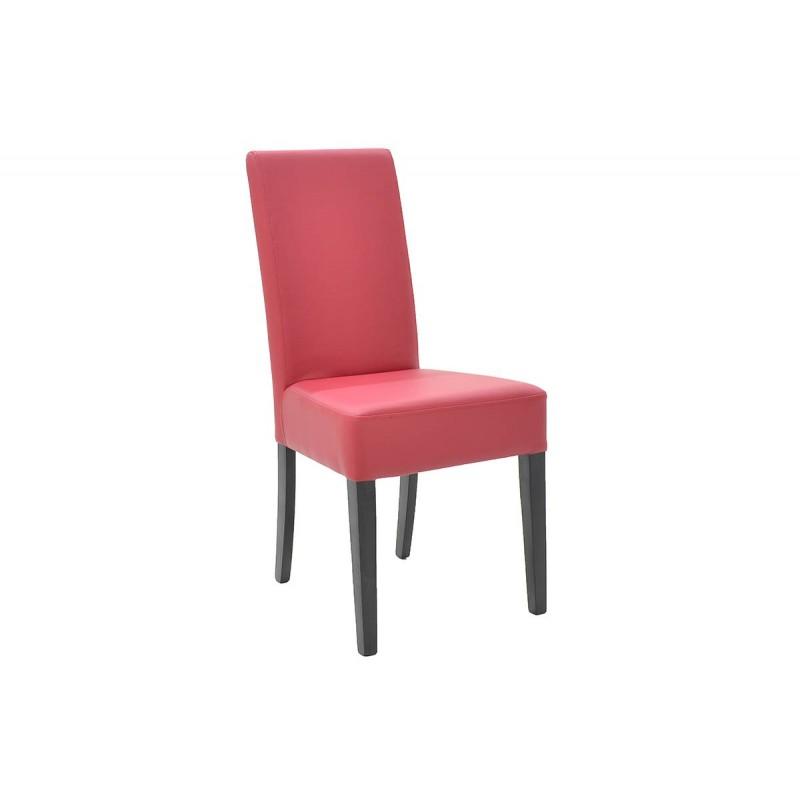 """Καρέκλα """"DITTA"""" απο μασίφ ξύλο και τεχνόδερμα σε χρώμα κόκκινο 44x45x96"""