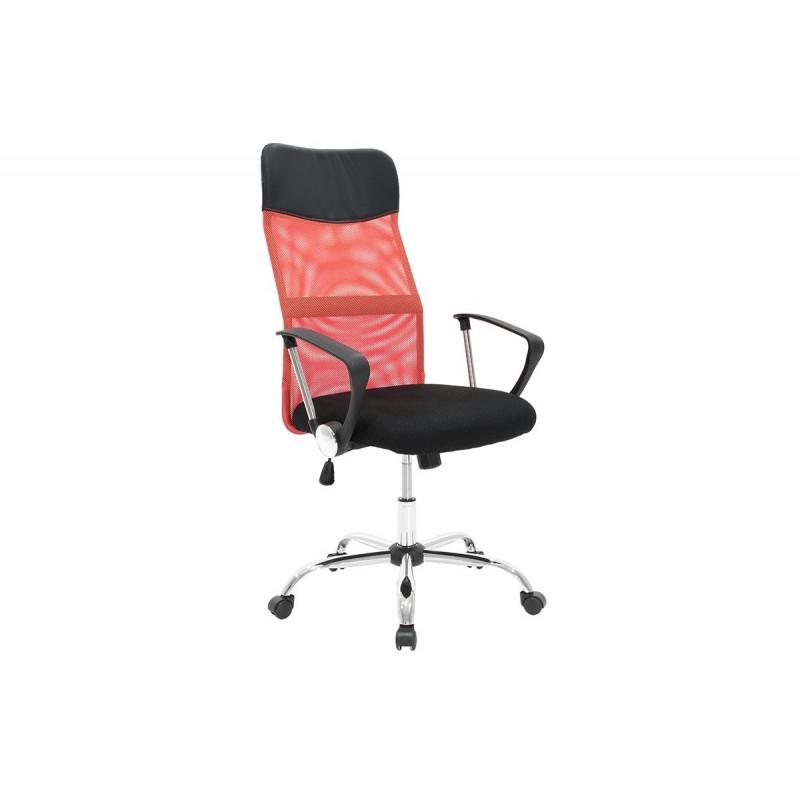 """Πολυθρόνα διευθυντή """"JOEL"""" από ύφασμα mesh σε χρώμα μαύρο-κόκκινο 64x63x110/120"""