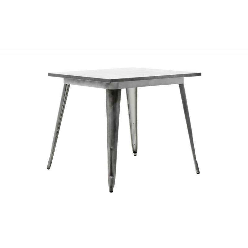 """Τραπέζι """"UTOPIA"""" μεταλλικό σε χρώμα μαύρο ασημί 80x80x75,5"""