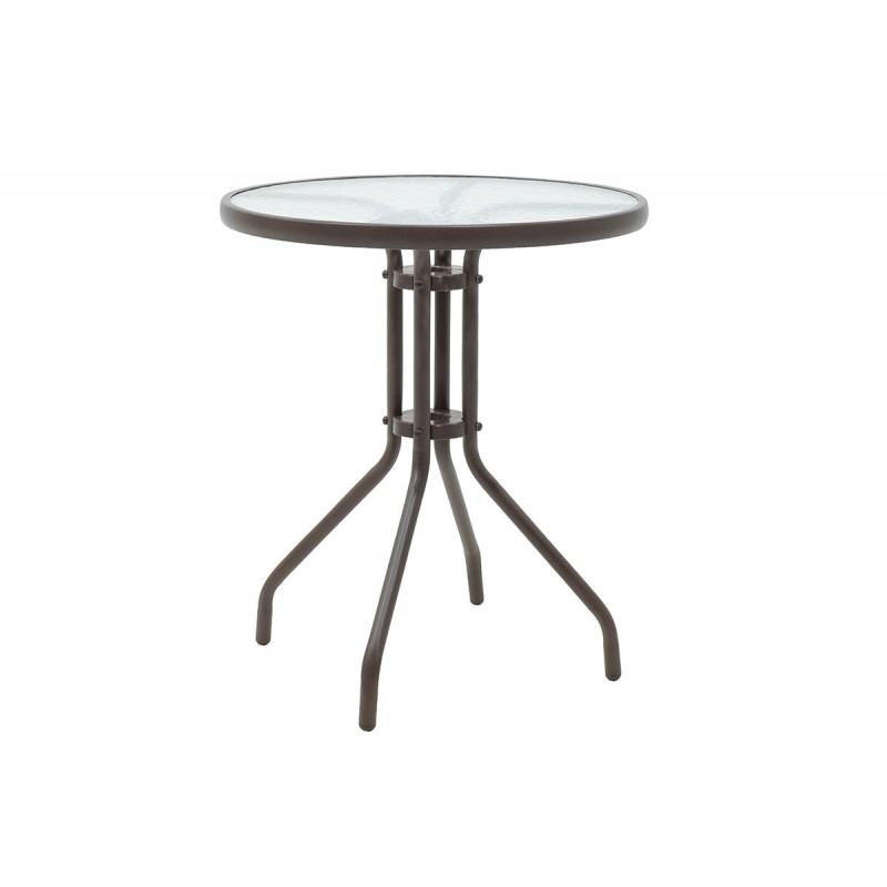 """Τραπέζι κήπου """"ALMA"""" στρόγγυλο μεταλλικό σε χρώμα καφέ Φ60x71"""