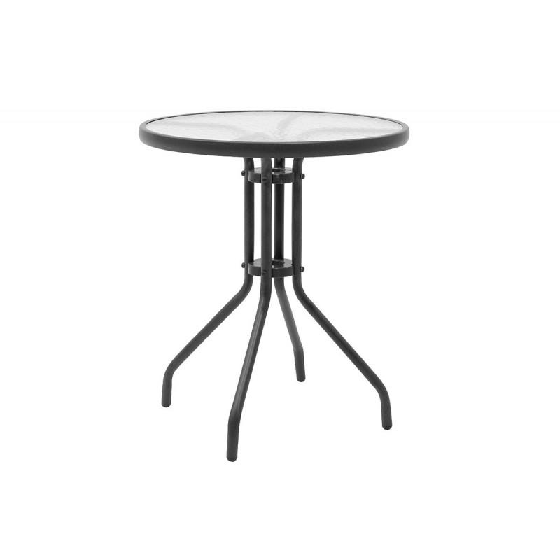"""Τραπέζι κήπου """"ALMA"""" στρόγγυλο μεταλλικό σε χρώμα ανθρακί Φ60x71"""
