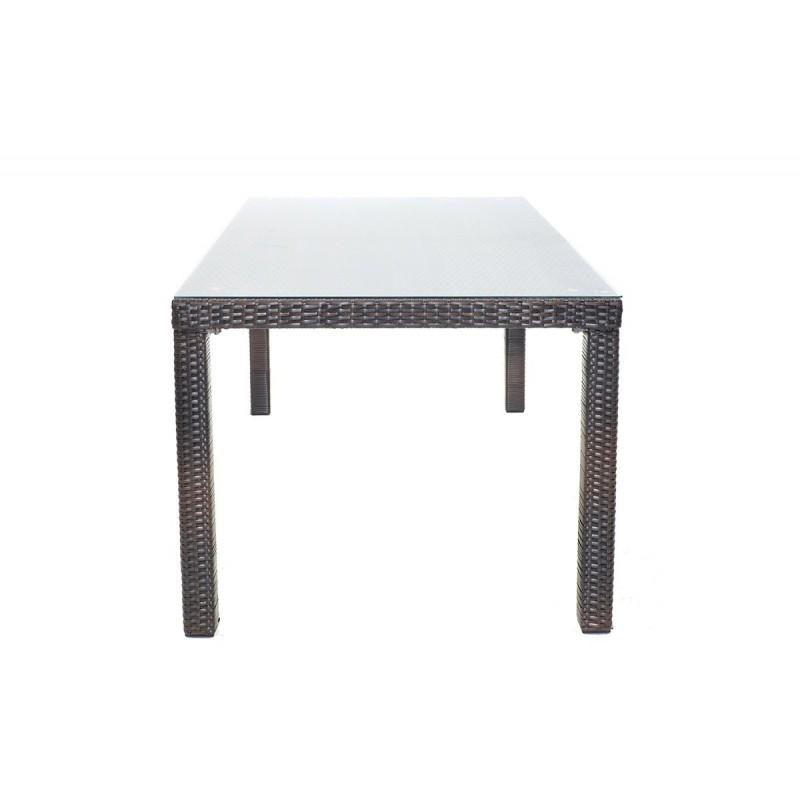 """Τραπέζι κήπου """"MILANO"""" αλουμινίου με πλέξη wicker σε χρώμα cappuccino 120x70x74"""
