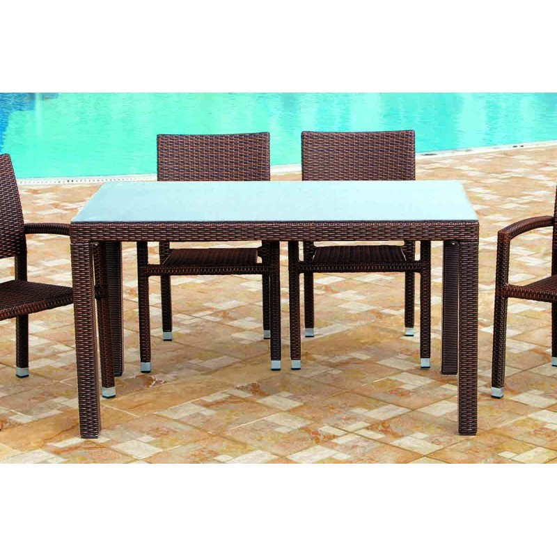 """Τραπέζι κήπου """"MILANO"""" αλουμινίου με πλέξη wicker σε χρώμα cappuccino 200x100x74"""