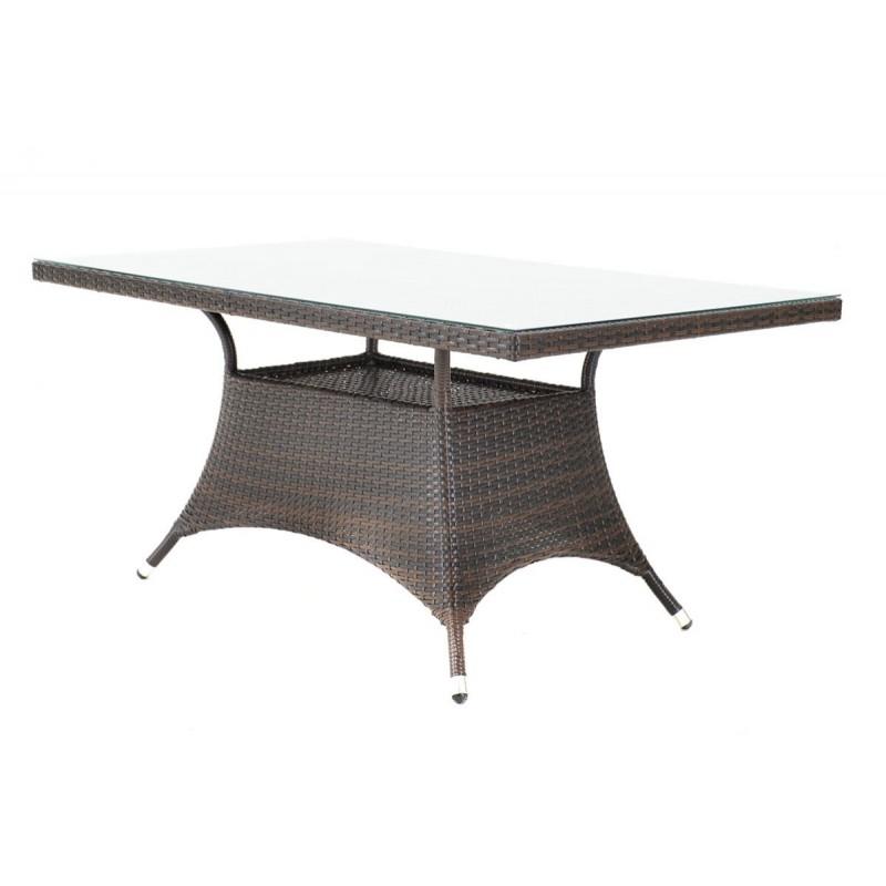 """Τραπέζι κήπου """"ROMA"""" αλουμινίου με πλέξη wicker σε χρώμα cappuccino 120x70x74"""