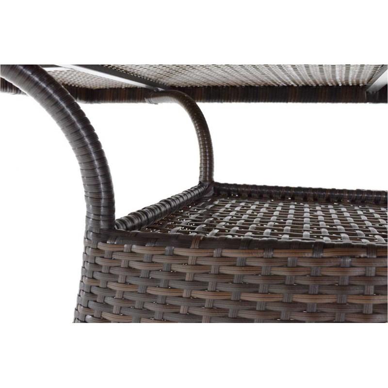 """Τραπέζι κήπου """"ROMA"""" αλουμινίου με πλέξη wicker σε χρώμα cappuccino 140x80x74"""