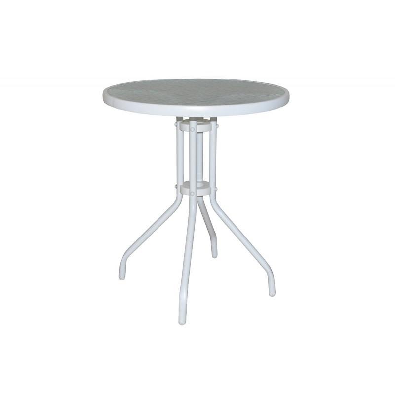 """Τραπέζι κήπου """"ALMA"""" στρόγγυλο μεταλλικό σε χρώμα λευκό Φ60x71"""