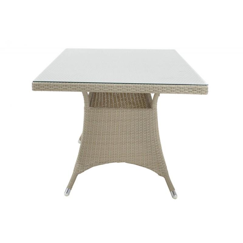 """Τραπέζι κήπου """"ROMA"""" αλουμινίου με πλέξη wicker σε χρώμα λευκό 120x70x74"""