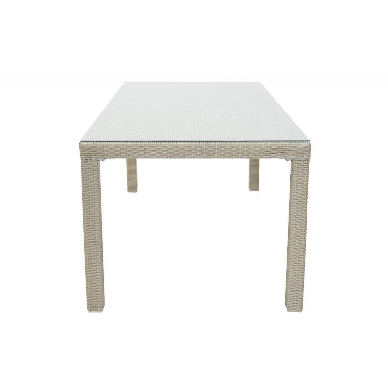 """Τραπέζι κήπου """"MILANO"""" αλουμινίου με πλέξη wicker σε χρώμα λευκό 120x70x74"""