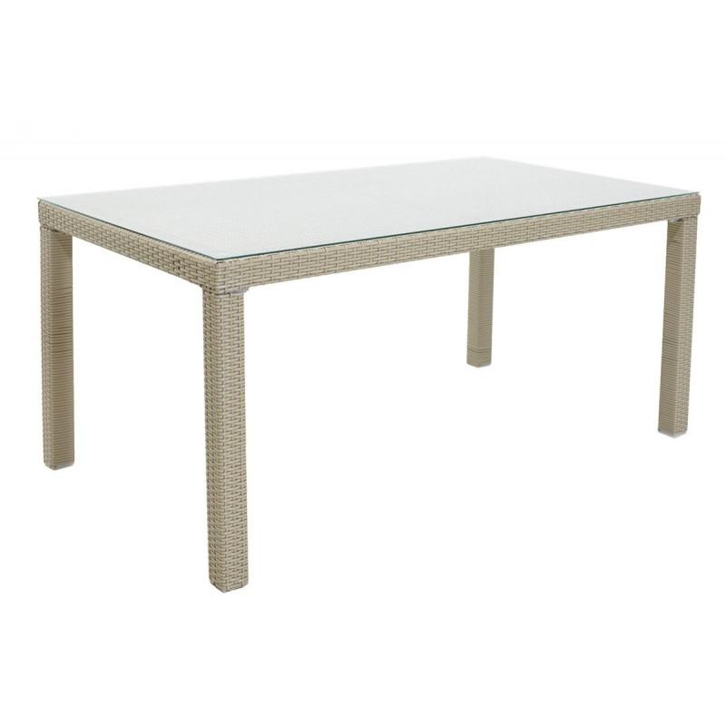 """Τραπέζι κήπου """"MILANO"""" αλουμινίου με πλέξη wicker σε χρώμα λευκό 200x100x74"""