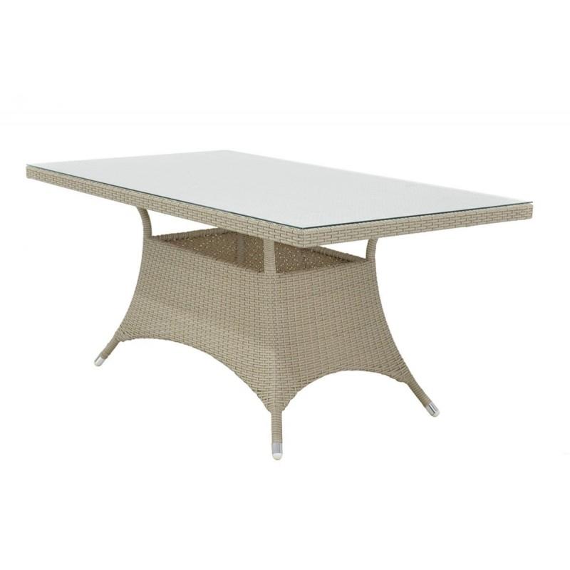 """Τραπέζι κήπου """"ROMA"""" αλουμινίου με πλέξη wicker σε χρώμα λευκό 140x80x74"""