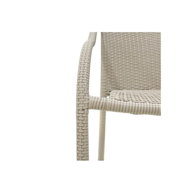 """Πολυθρόνα κήπου """"NORA"""" μεταλλικό με πλέξη wicker σε χρώμα λευκό πάγου 56x68x84"""