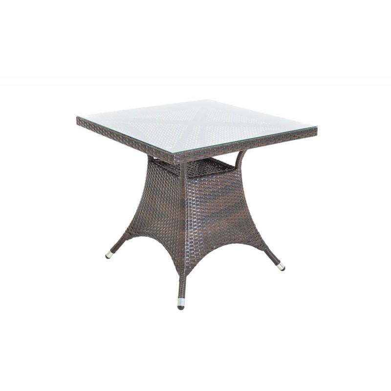 """Τραπέζι κήπου """"ROMA"""" αλουμινίου με πλέξη wicker σε χρώμα cappuccino 80x80x74"""