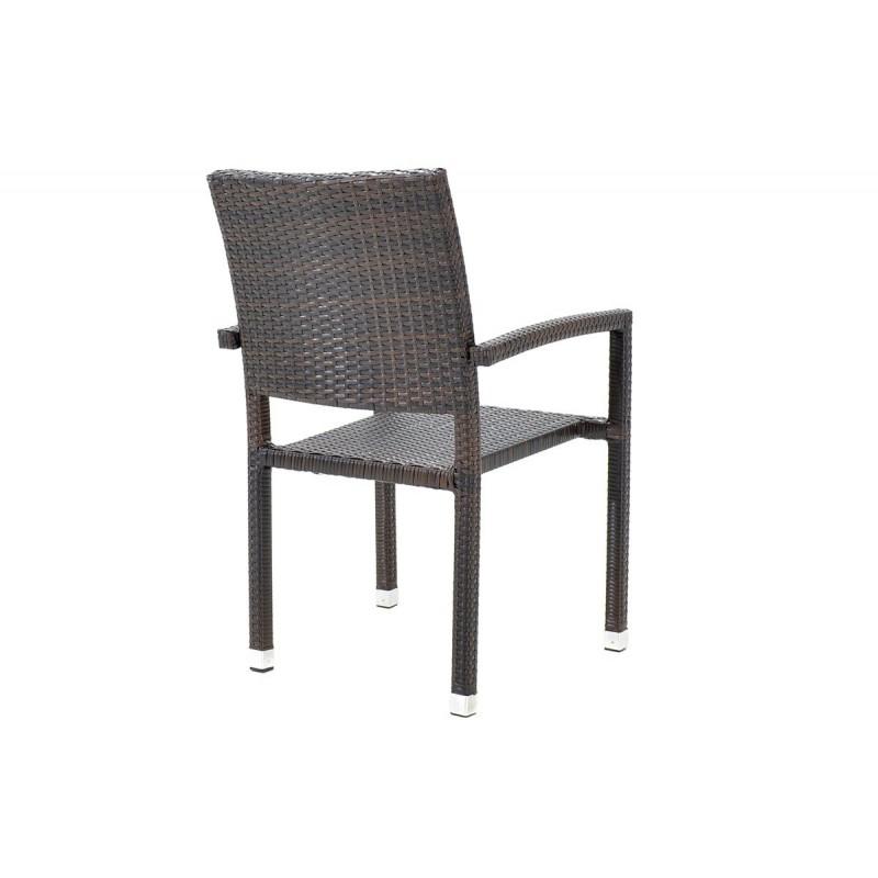 """Πολυθρόνα κήπου """"RENATA"""" μεταλλικό με πλέξη wicker σε χρώμα cappuccino 57x58x93"""