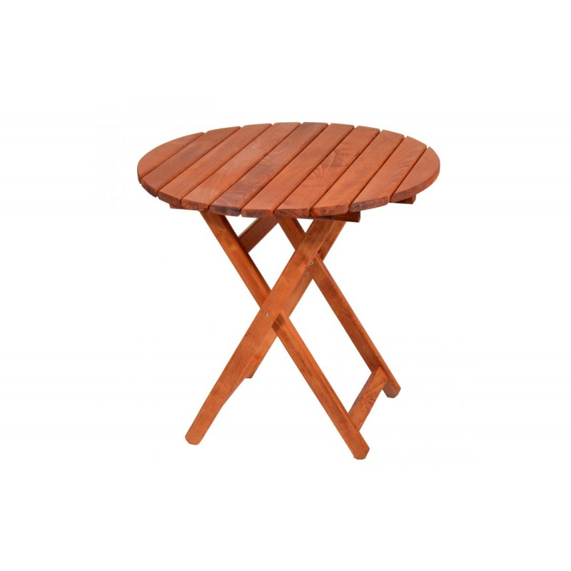 """Τραπέζι """"ARETI"""" πτυσσόμενο απο μασίφ ξύλο οξιάς σε χρώμα κερασί Φ60x71"""