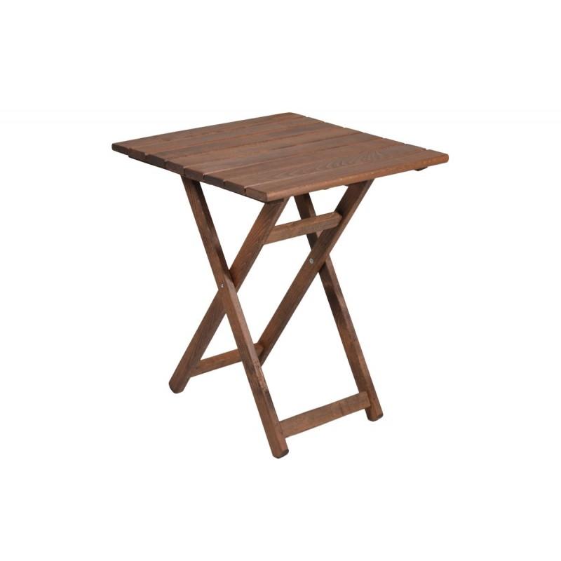 """Τραπέζι """"ARETI"""" πτυσσόμενο απο μασίφ ξύλο οξιάς σε χρώμα καρυδί 60x60x71"""
