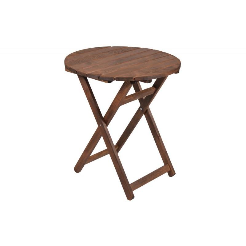 """Τραπέζι """"ARETI"""" πτυσσόμενο απο μασίφ ξύλο οξιάς σε χρώμα καρυδί Φ80x71"""