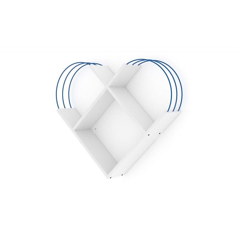"""Ραφιέρα τοίχου """"CASE"""" σε χρώμα λευκό με λεπτομέρειες μπλε 89x18x74"""