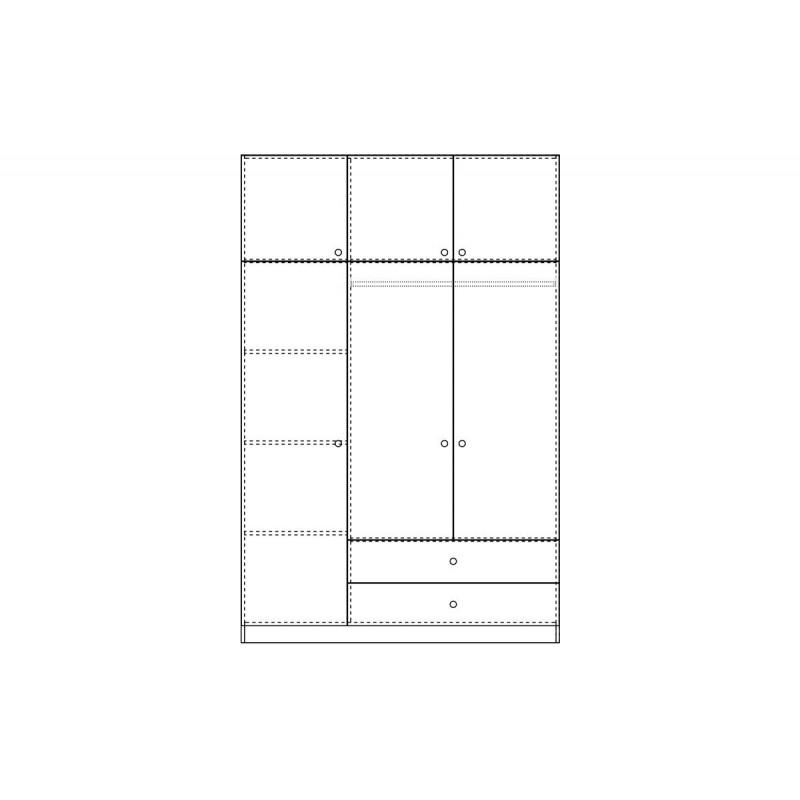 """Ντουλάπα """"ROYAL"""" τρίφυλλη με πατάρι χρώμα βέγγε 150x58x230"""