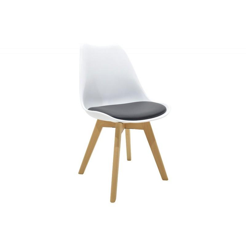 """Καρέκλα """"GASTON"""" πολυπροπυλενίου-pu σε χρώμα λευκό-μαύρο 48x56x82"""