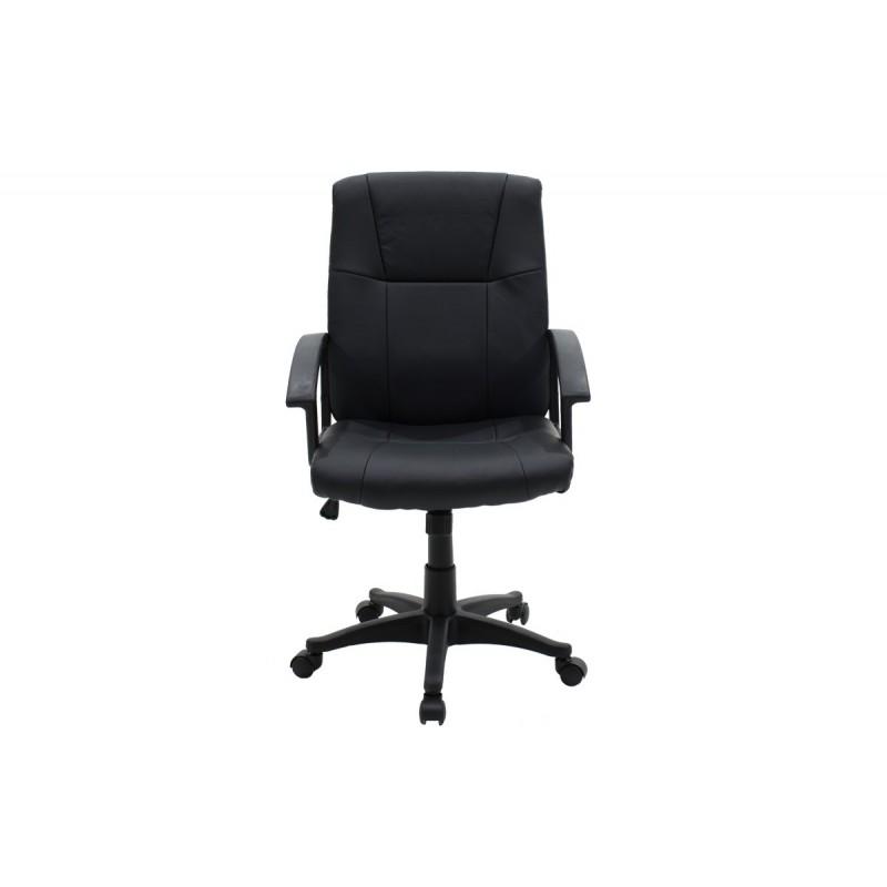 """Πολυθρόνα εργασίας """"LENNON"""" με τεχνόδερμα σε χρώμα μαύρο 61x58x97/107"""