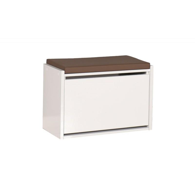 """Παπουτσοθήκη-σκαμπώ """"ENTRANCE"""" σε λευκό χρώμα 63x31x45"""