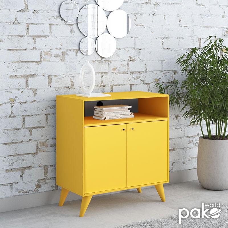 """Ντουλάπι-παπουτσοθήκη """"LONDON"""" σε κίτρινο χρώμα 72x40x79"""