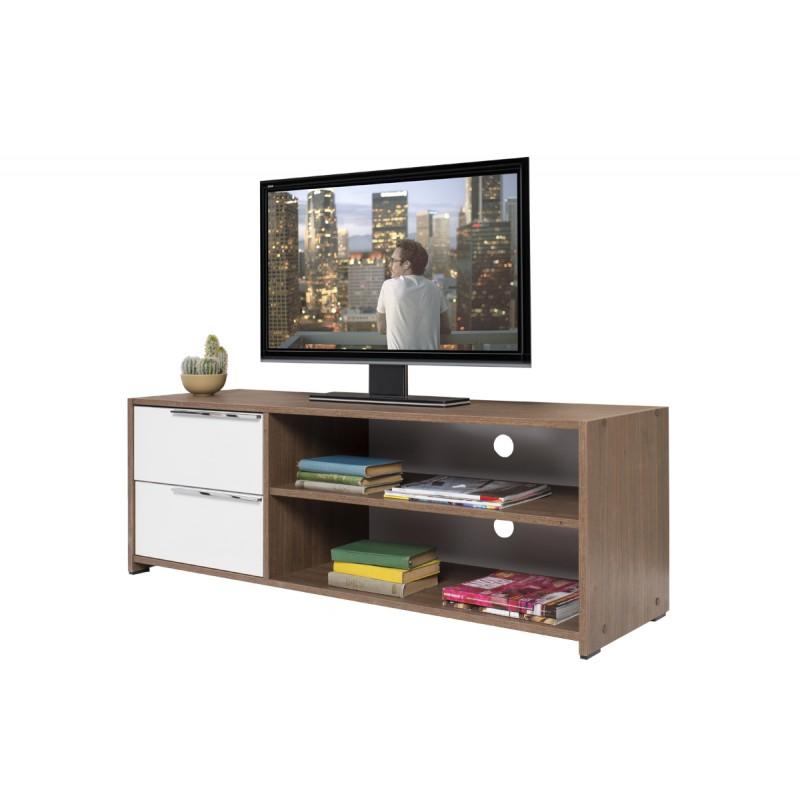 """Έπιπλο τηλεόρασης """"FLAT LINE"""" σε χρώμα καρυδί noce-λευκό 127x40x46"""