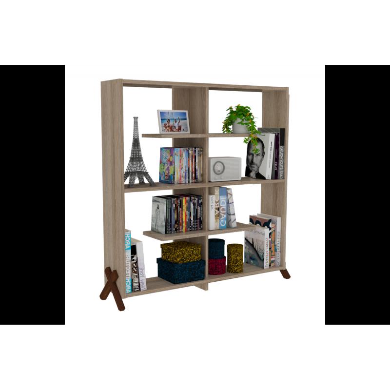 """Βιβλιοθήκη """"KIPP"""" σε χρώμα σονόμα με καρυδί λεπτομέρειες 113x28x115"""