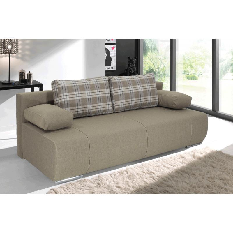 "Kαναπές-κρεβάτι ""VICTOR"" τριθέσιος υφασμάτινος σε χρώμα μόκα 200x100x80"