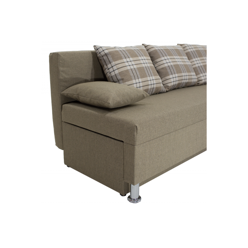 """Γωνιακός καναπές-κρεβάτι """"TANYA"""" αναστρέψιμος υφασμάτινος σε χρώμα μόκα 196x70/150x78"""