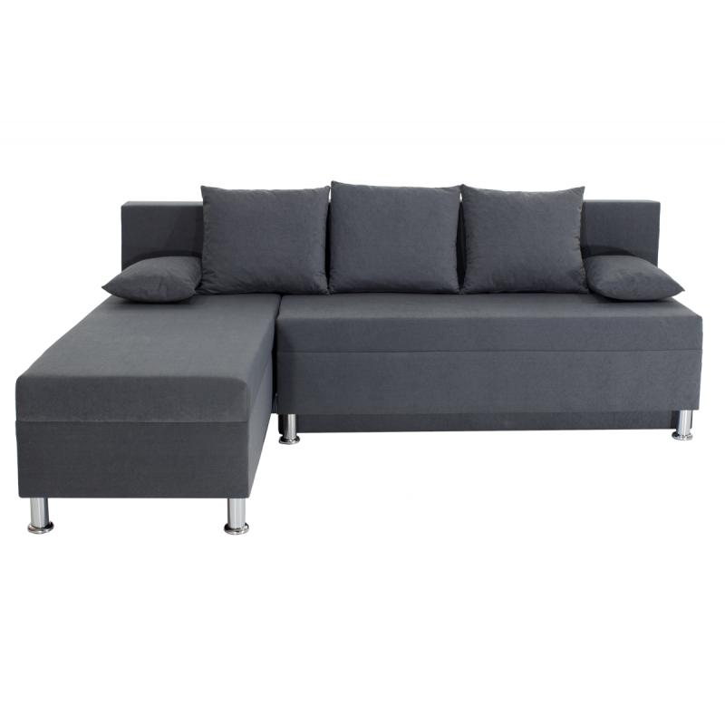 """Γωνιακός καναπές-κρεβάτι """"TANYA"""" αναστρέψιμος υφασμάτινος σε ανθρακί χρώμα 196x70/150x78"""